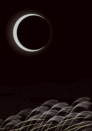 Crescent moon and silver grass. Japanese landscape. Japanese