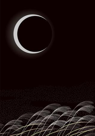 Croissant de lune et de l'herbe d'argent. paysage japonais. Japonais
