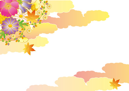 late autumn: Autumn flowers. Japan flowers. Illustration