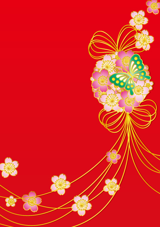 Cherry and butterfly flower ball. Japanese pattern.