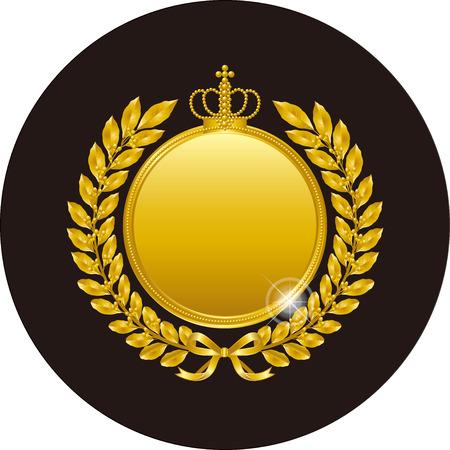 Golden laurel wreath and medal Ilustração