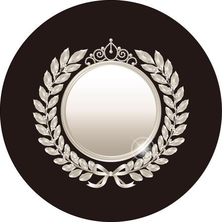 silver medal: silver laurel wreath and medal Illustration