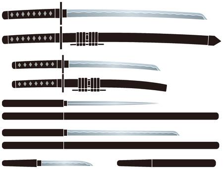忍者の刀。「忍者」は日本史のスパイです。  イラスト・ベクター素材
