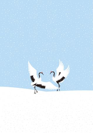 winter dance: Winter crane dance. Japanese landscape.