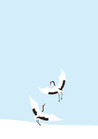 midwinter: Winter crane dance. Japanese landscape.