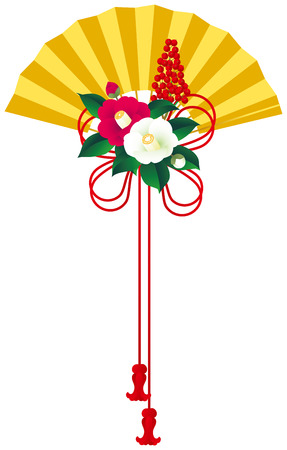 japanese style: Camellia and fan. Japanese style.