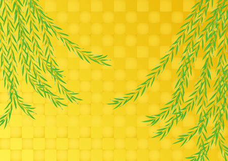 Trauerweide und Blattgold. Das Hintergrundmaterial aus Japan. Standard-Bild - 68477351