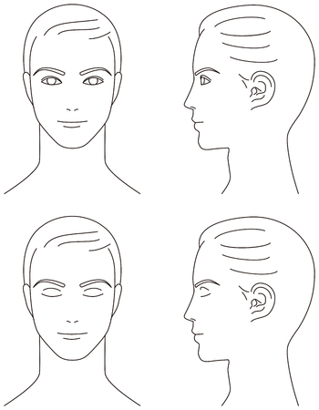 man face. Front and profile.