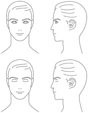 visage profil: le visage de l'homme. Avant et profil. Illustration