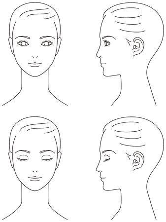 女性の顔。正面と横顔。