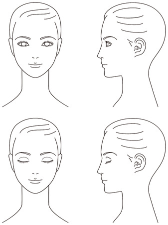 woman profile: woman face. Front and profile.