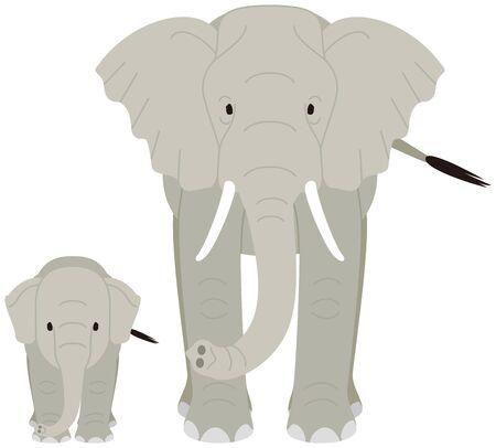 象。親と子。  イラスト・ベクター素材