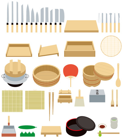 ware: Tool to make sushi.kitchen ware.  Sushi is Japanese food.