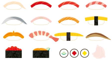寿司。「寿司」は日本食です。  イラスト・ベクター素材