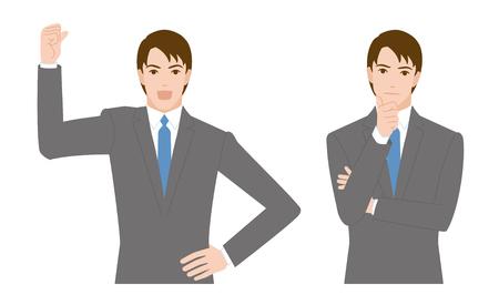 personas pensando: gesto de hombre de negocios