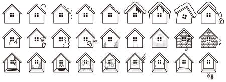 deterioration: House deterioration Illustration
