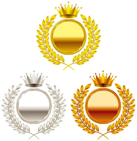 Corona. Medalla de oro. Medalla de plata. medalla de bronce. Ilustración de vector