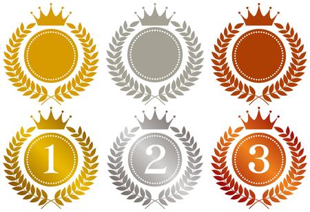 Kroon. Gouden medaille. Zilveren medaille. bronzen medaille. Stock Illustratie