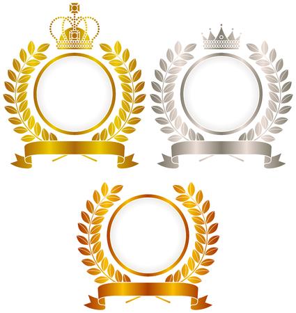 Or, argent, cuivre, emblème de la couronne