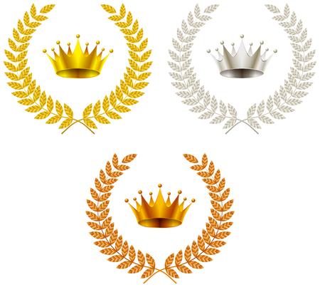 Oro, plata, cobre, emblema de la corona