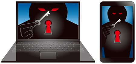 laptop vector: Computer Crime  key Illustration