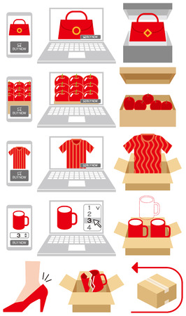 online purchase: Online shoppinng trouble Illustration