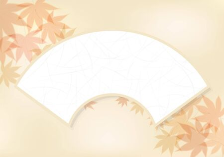 fallen: Folding fan and Autumn leaves. The background material. Illustration