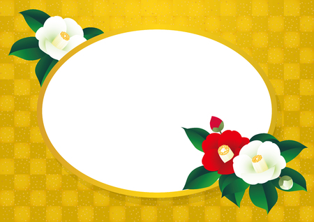 material flower: Gold pattern and camellia. Japanese style background material.