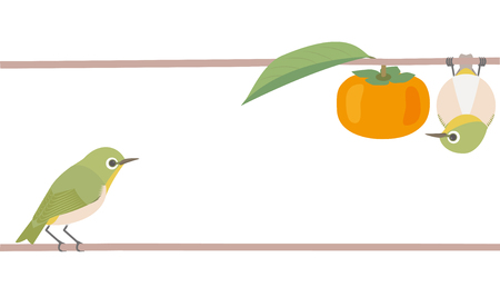 Japanese white eye and persimmon. Japanese style.