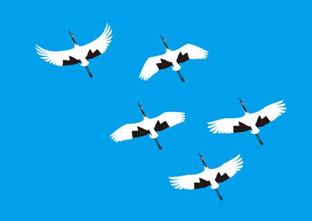 Blue sky and cranes