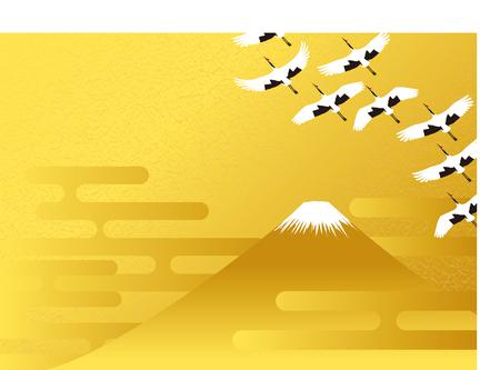富士山と鶴  イラスト・ベクター素材