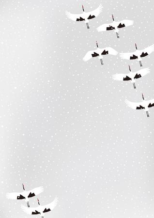겨울 레드 크레인의 그룹 일러스트