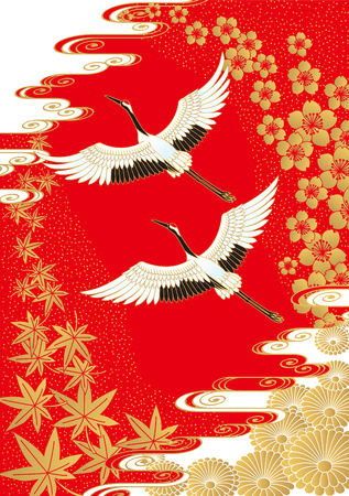 Crane and four seasons. pattern Japanese style. 矢量图像