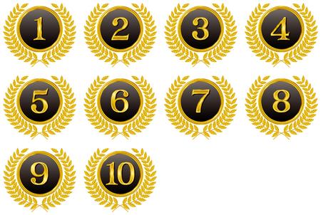 Médaille. Tournez ... Numéros. Emblème.