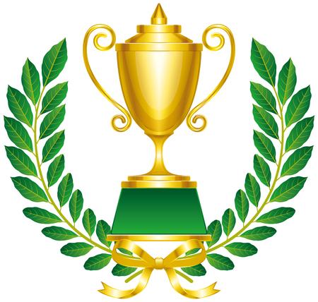 Laurel wreath and winner cup.trophy.