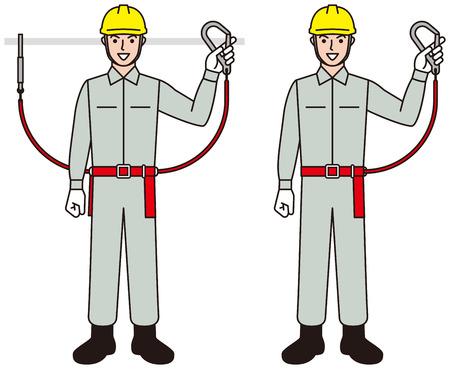 Worker. Working person. Safety belt.