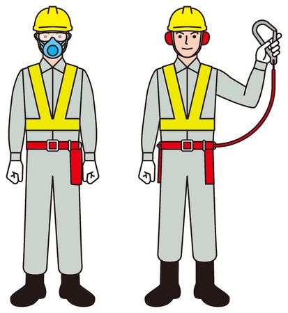 Obrero. Persona trabajadora. Cinturón de seguridad. Herramienta de protección Ilustración de vector
