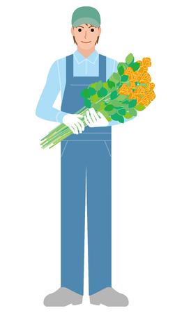 Landbouw beroep Bloem boer Stock Illustratie