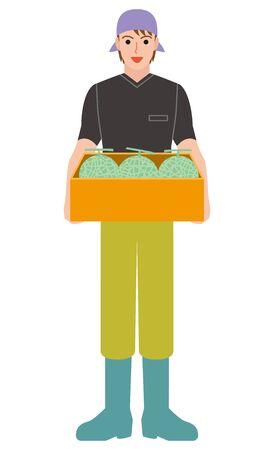 Agriculture farmer Fruit melon Illustration