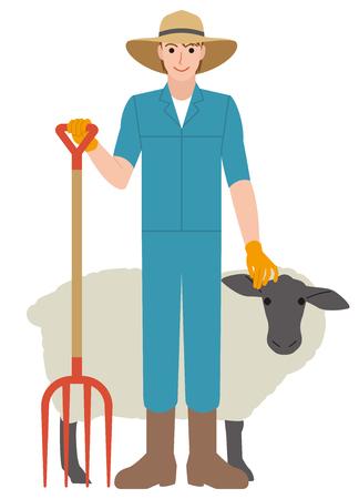 양치기 가축 산업 양 일러스트