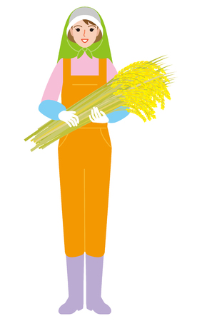 Agriculture farmer Rice cereals Illustration