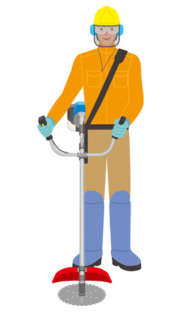 A man with a brush cutter illustration.