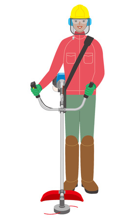 A woman with a brush cutter illustration.