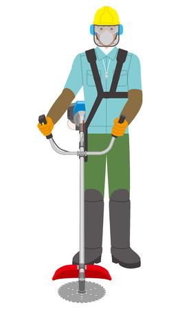 man met een bosmaaier Stock Illustratie