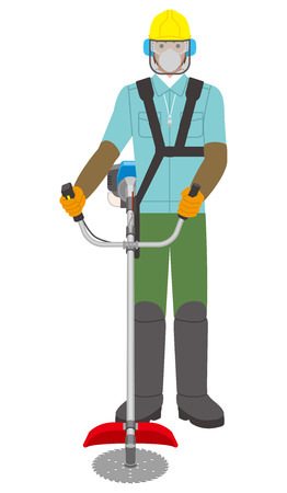 man with a brush cutter Illustration