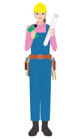 ツールと保護装置およびステンシルのコピーの笑みを浮かべて女性大工。白で隔離  イラスト・ベクター素材