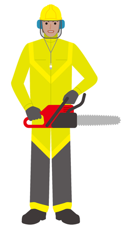 Forestry worker  man with a chainsaw illustration.