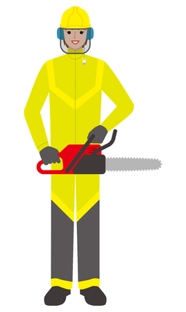 Forestry worker  woman with a chainsaw