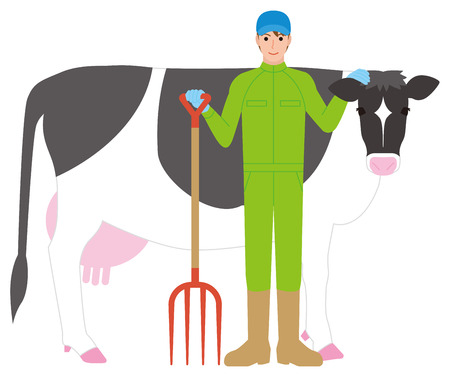 Dairy farmer men and cows illustration.