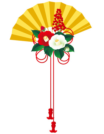 Gold folding fan. Red and white camellia. Japanese style. Çizim